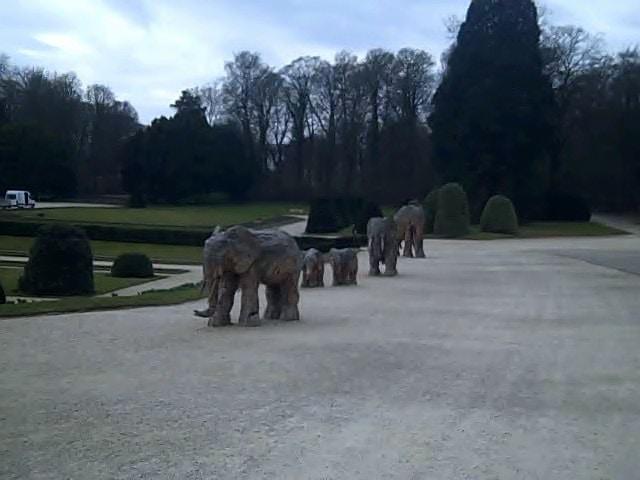 Modern elephant sculpture outside museum