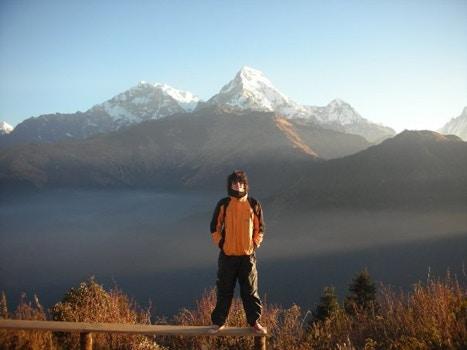 Man hiking the Himalayas