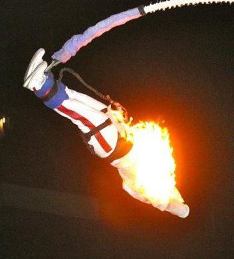 Bungee jumping on fire