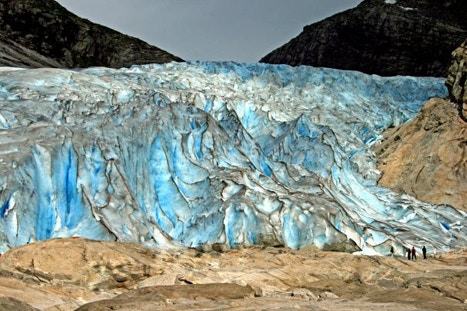 Climbing a glacier