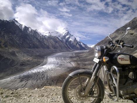 Bike standing atop of Himalayas
