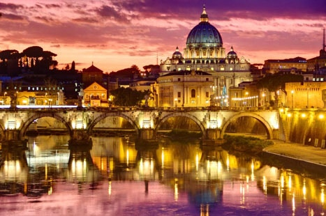 St Peter's basilica in Rome reflected in water