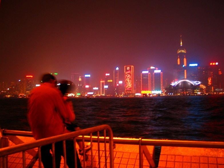 Hong Kong, couple, kissing, city lights, harbour