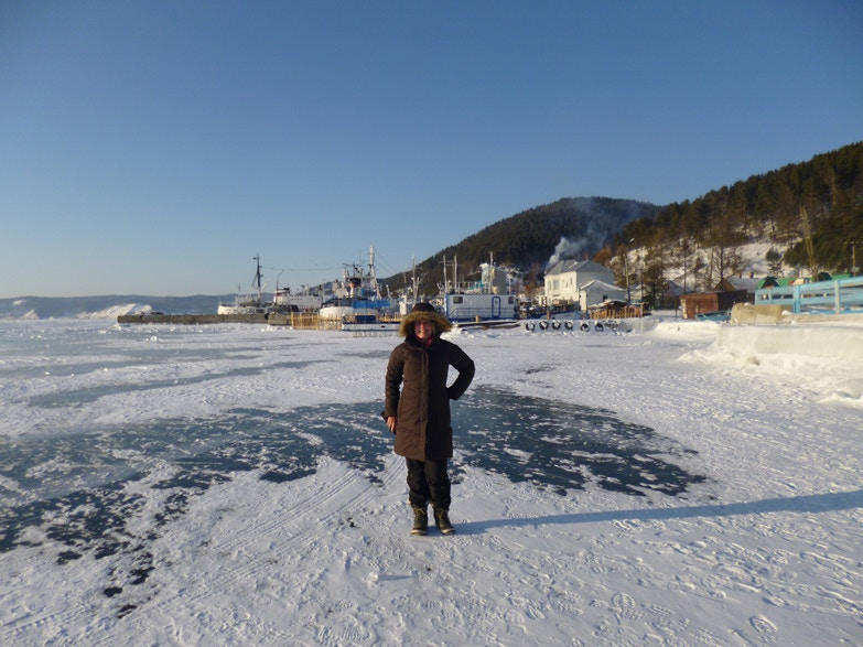 Standing on frozen Lake Baikal, Listvyanka, Russia, on a break in the Trans-Siberian journey.