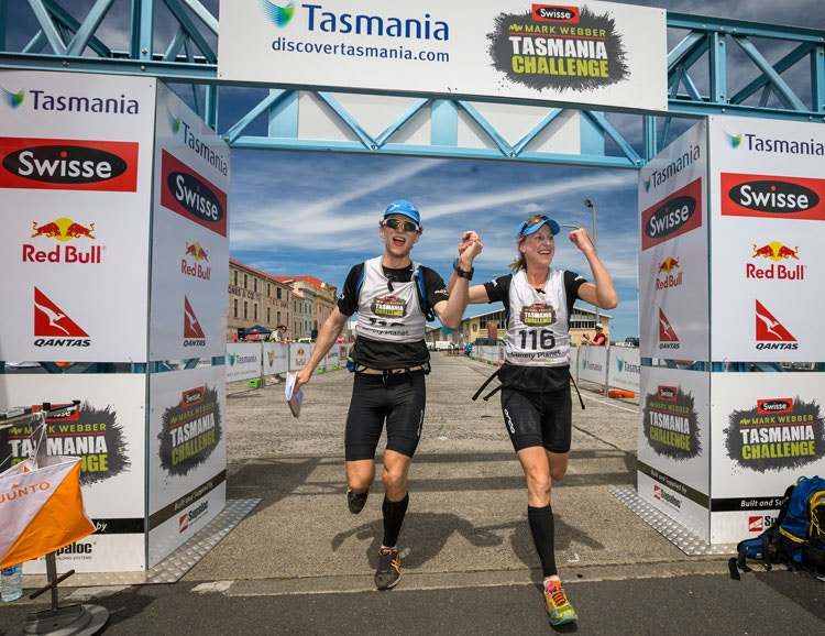 David and Georgie cross the finish line in Hobart. Image c/o Perfect Prints.