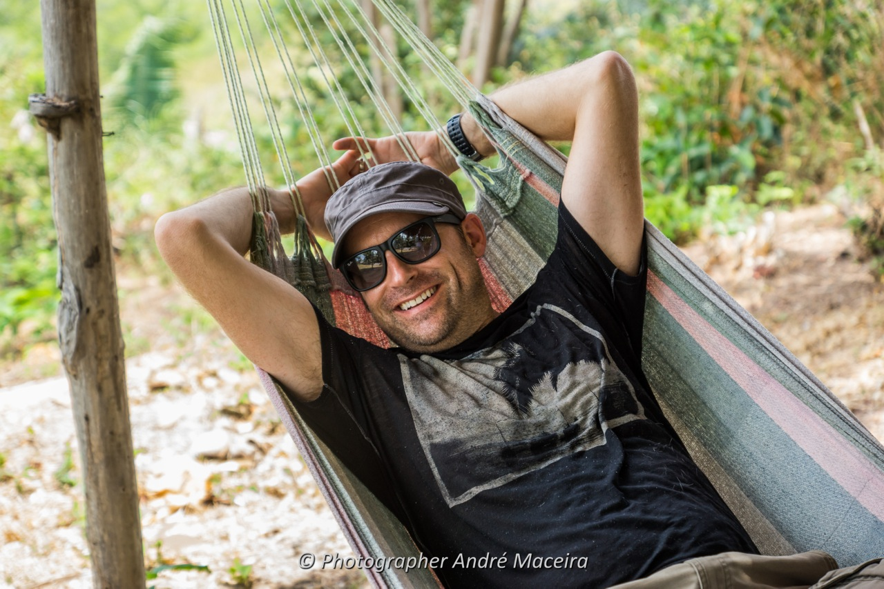 Kevin swings in a hammock in Alcântara, Brazil. Image courtesy of Andre Maceira