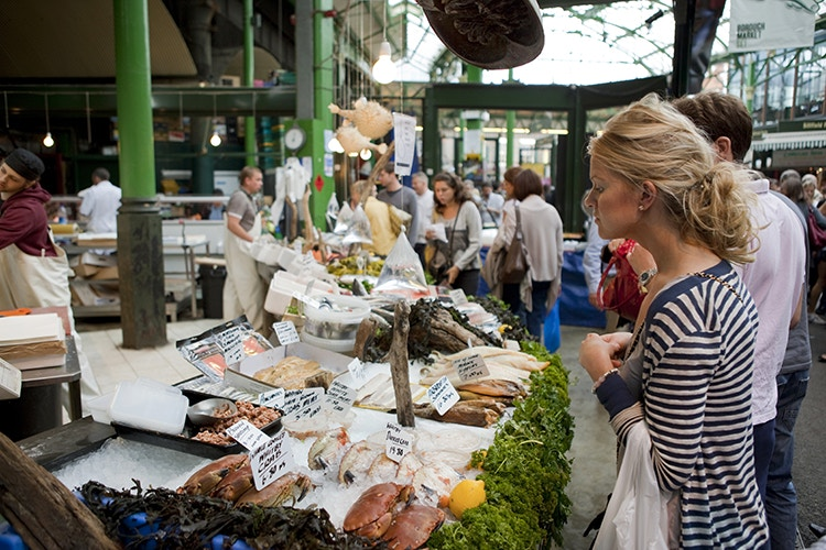 London's Borough Market is the ideal stop for a snack. Image by Tony C French / Photolibrary / Getty Images