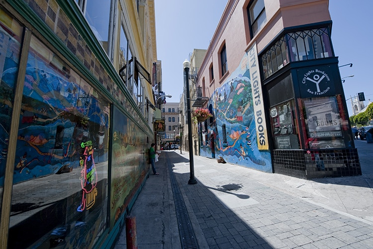 San Francisco's City Lights Bookstore in Jack Kerouac Alley. Image by Thomas Winz / Lonely Planet Images / Getty Images