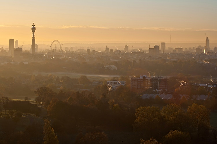 Primrose Hill offers a magical panorama of London at dawn. Image by James Burns / Moment / Getty Images
