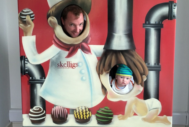 James Kay with his son Harvey at the Skelligs Chocolate Factory. Image courtesy of James Kay