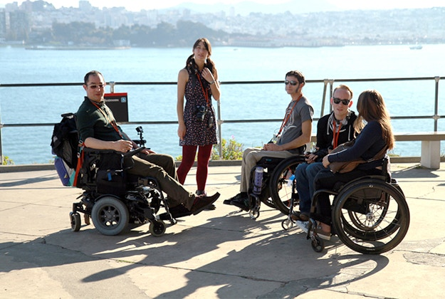 Group of travellers with disabilities visiting Alcatraz