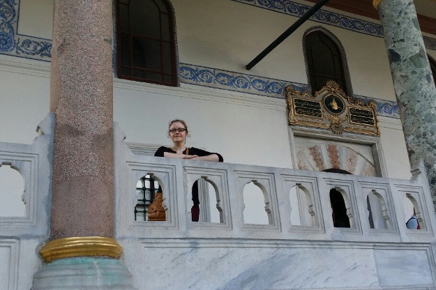 Laura taking in the opulent architecture of the Topkapı Palace. Image courtesy of Laura Crawford