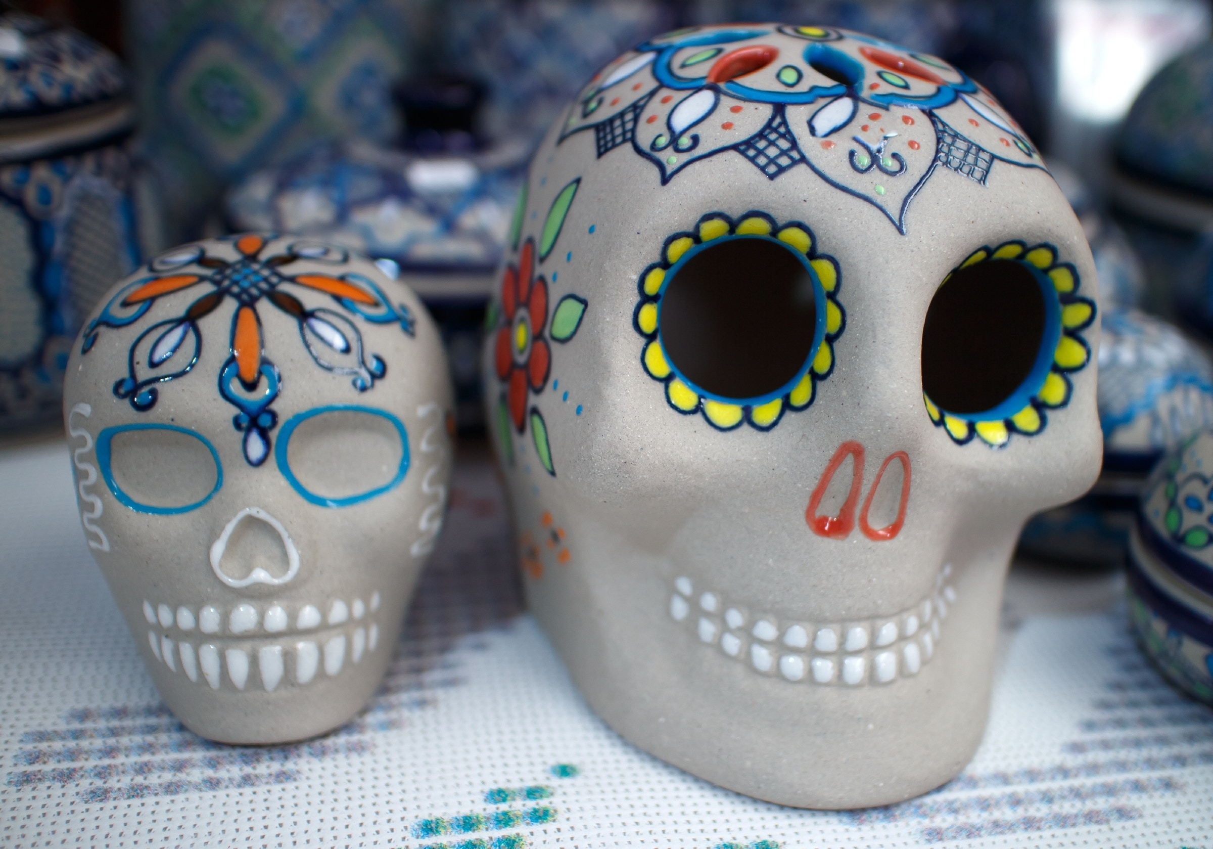 Day of the death. Sugar skulls. Shallow depth of field