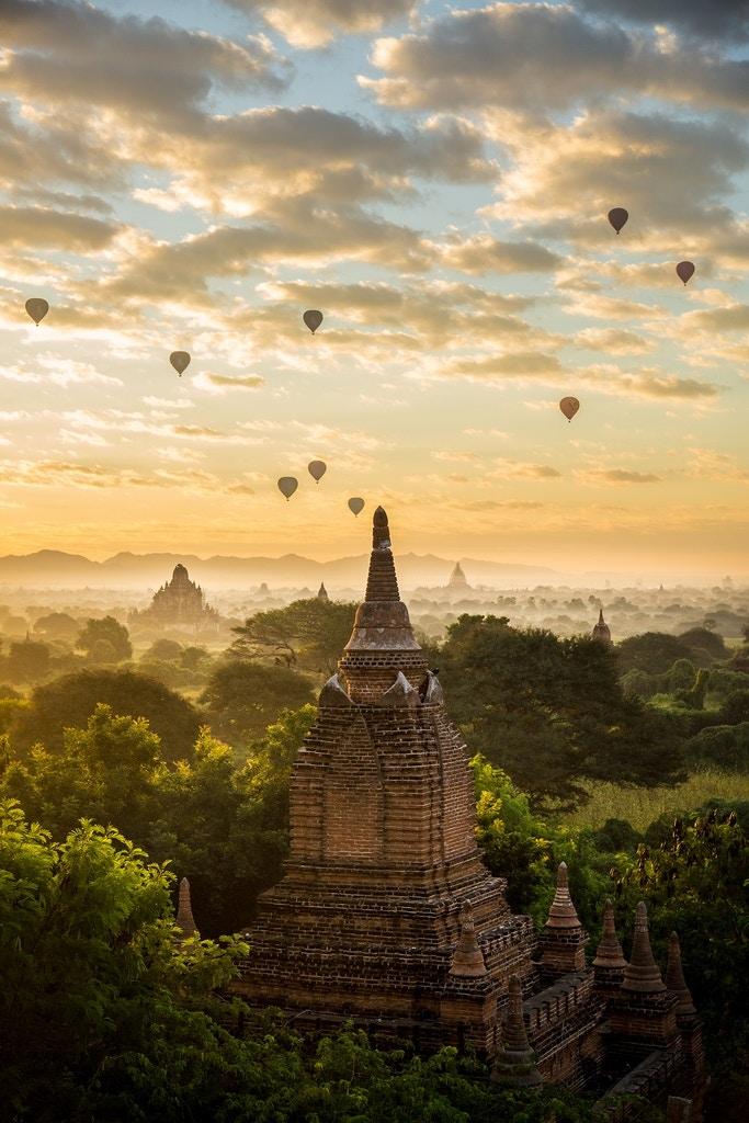 Sunrise over Bagan in Myanmar. - tapshanov