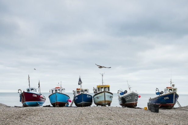 Fishing boats on the shore in Devon