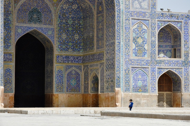 A blue tiled mosque in Iran