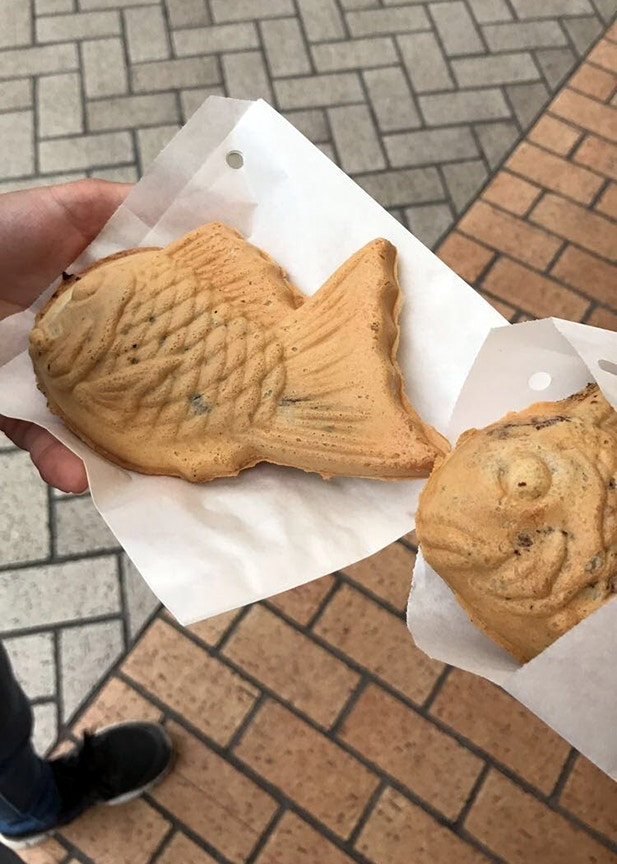 Fish-shaped taiyaki cakes