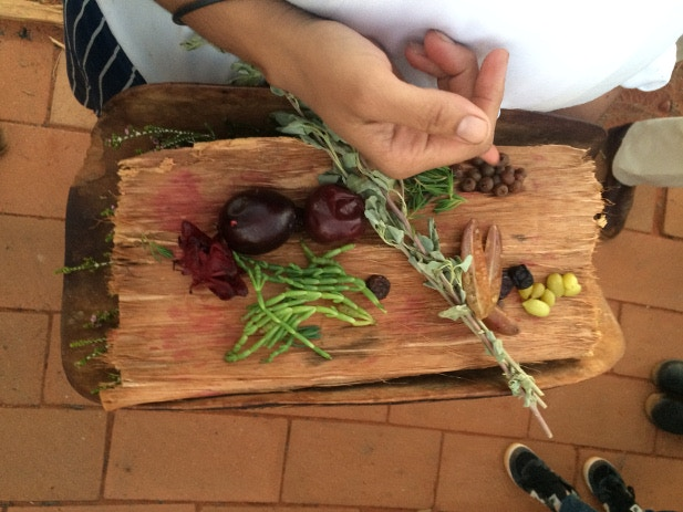 Traditional bush tucker displayed on a wooden board
