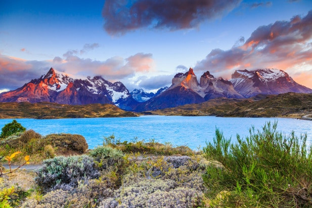Sunrise over Pehoe Lake, Torres Del Paine National Park, Chile