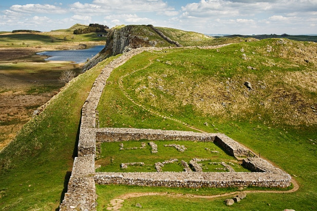 The remnants of Milecastle 39 along Hadrian's Wall