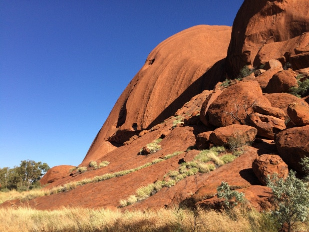A section of red rock along the Uluru self-guided Base Walk