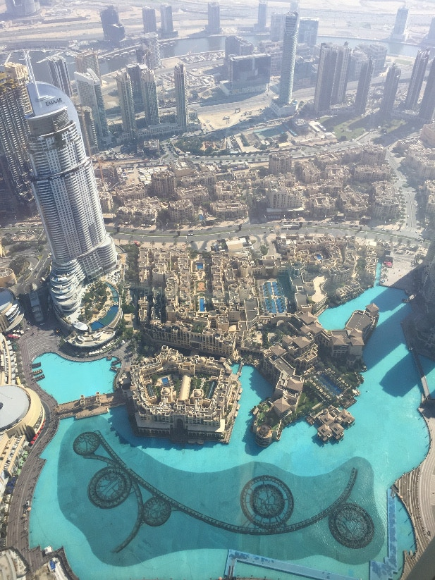 Looking down across Dubai from the top of the Burj Khalifa