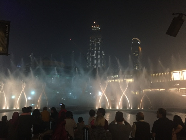 The dancing fountains entertain onlookers outside the Dubai Mall
