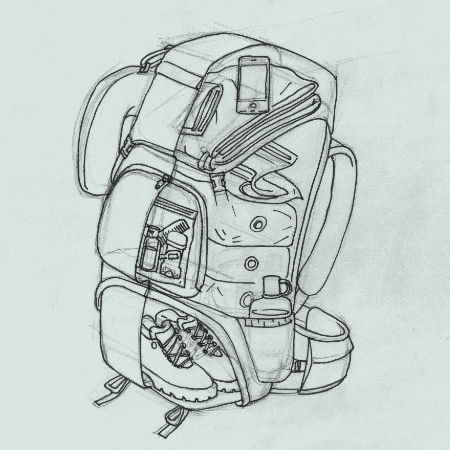 pack a backpack sketch