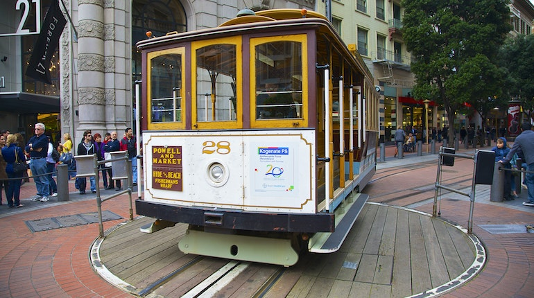 Cable Car Drink: Powell St Cable Car Turnaround In San Francisco, USA