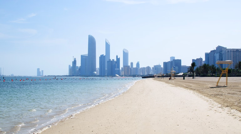 Corniche Beach in Abu Dhabi, United Arab Emirates - Lonely