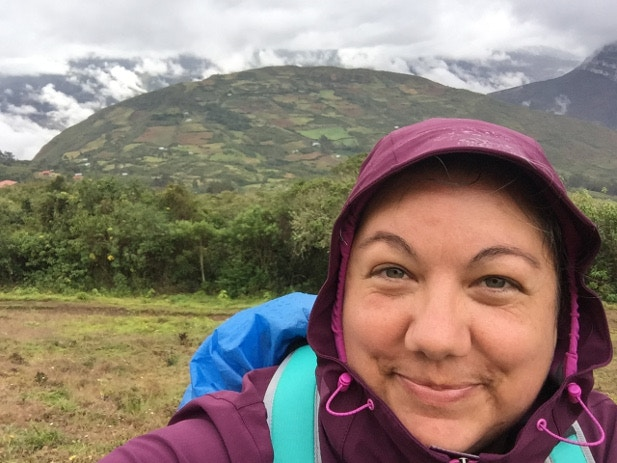 Megan snaps a selfie in front of Kuélap's cloud forest