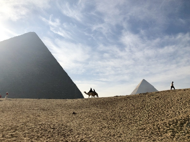 Two camels silhouetted between the pyramids of Giza