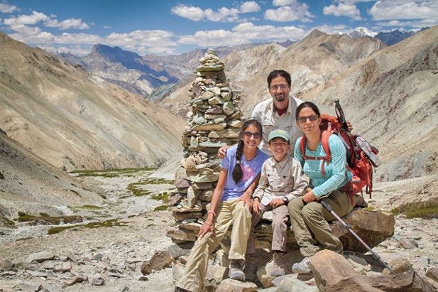 Binny and family on their first high-altitude hike in the Markha Valley Ladakh