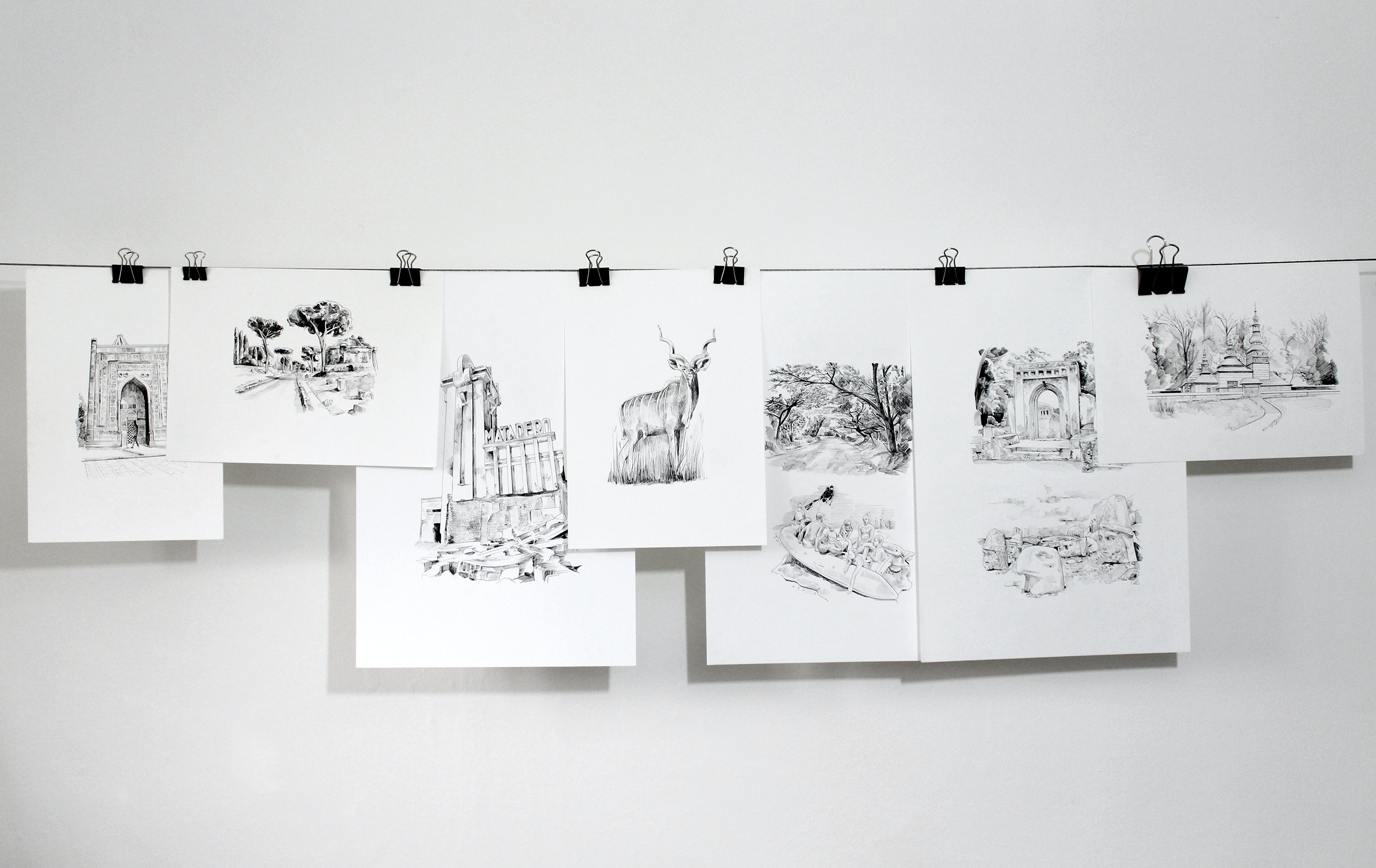 Drawings hanging