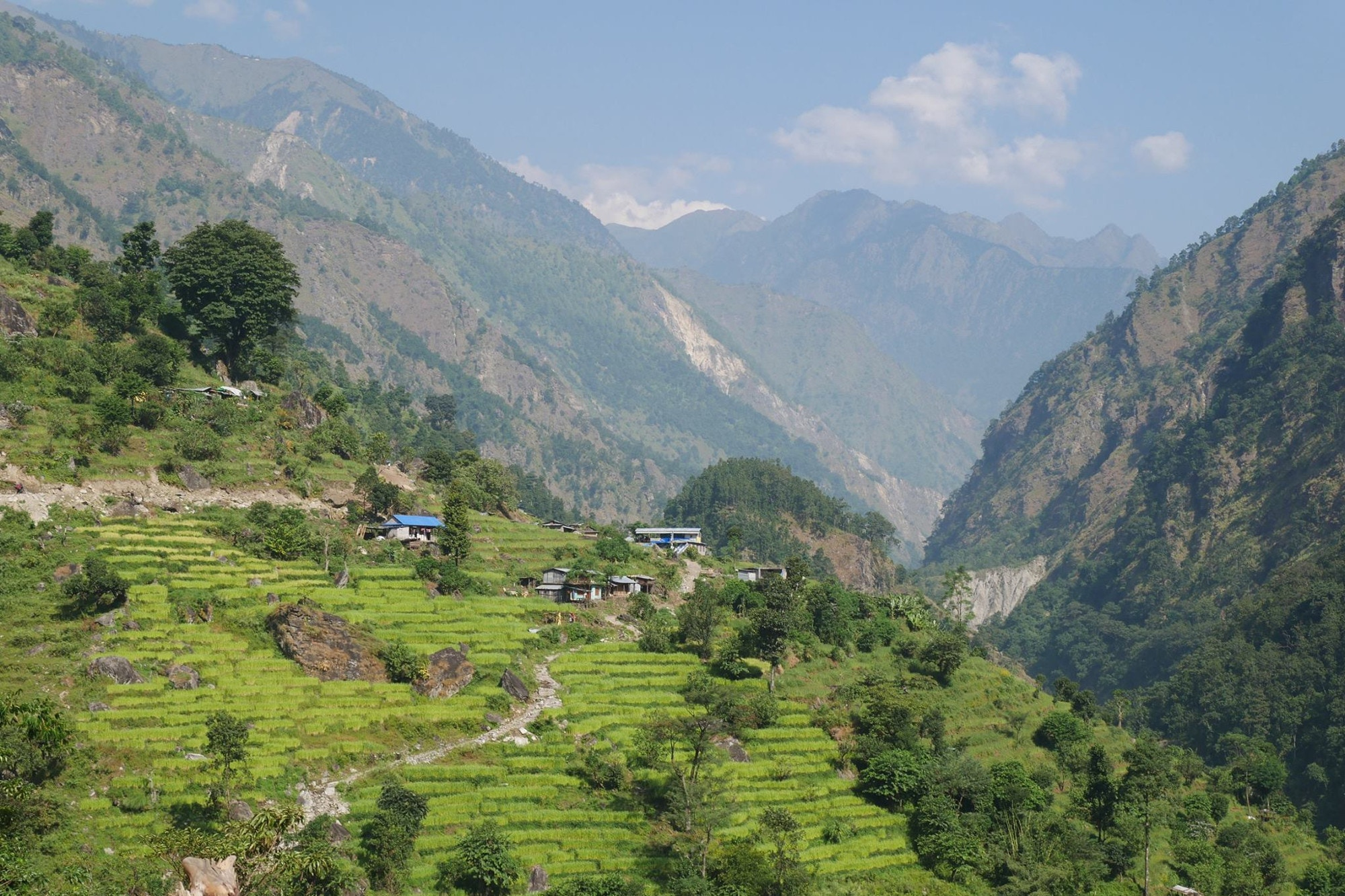 A view across a valley in the Nepal Himalaya