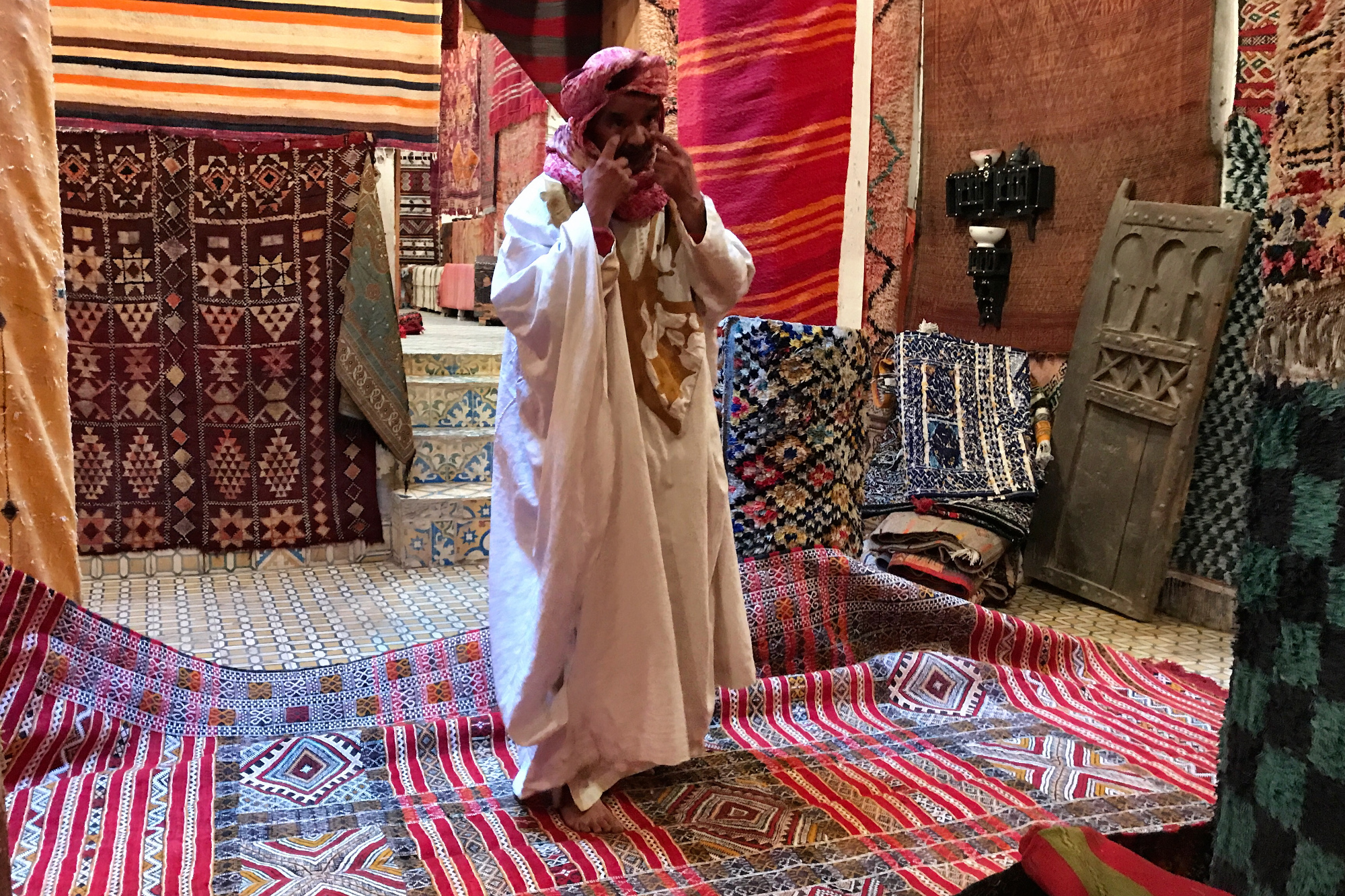 A rug shop in Morocco