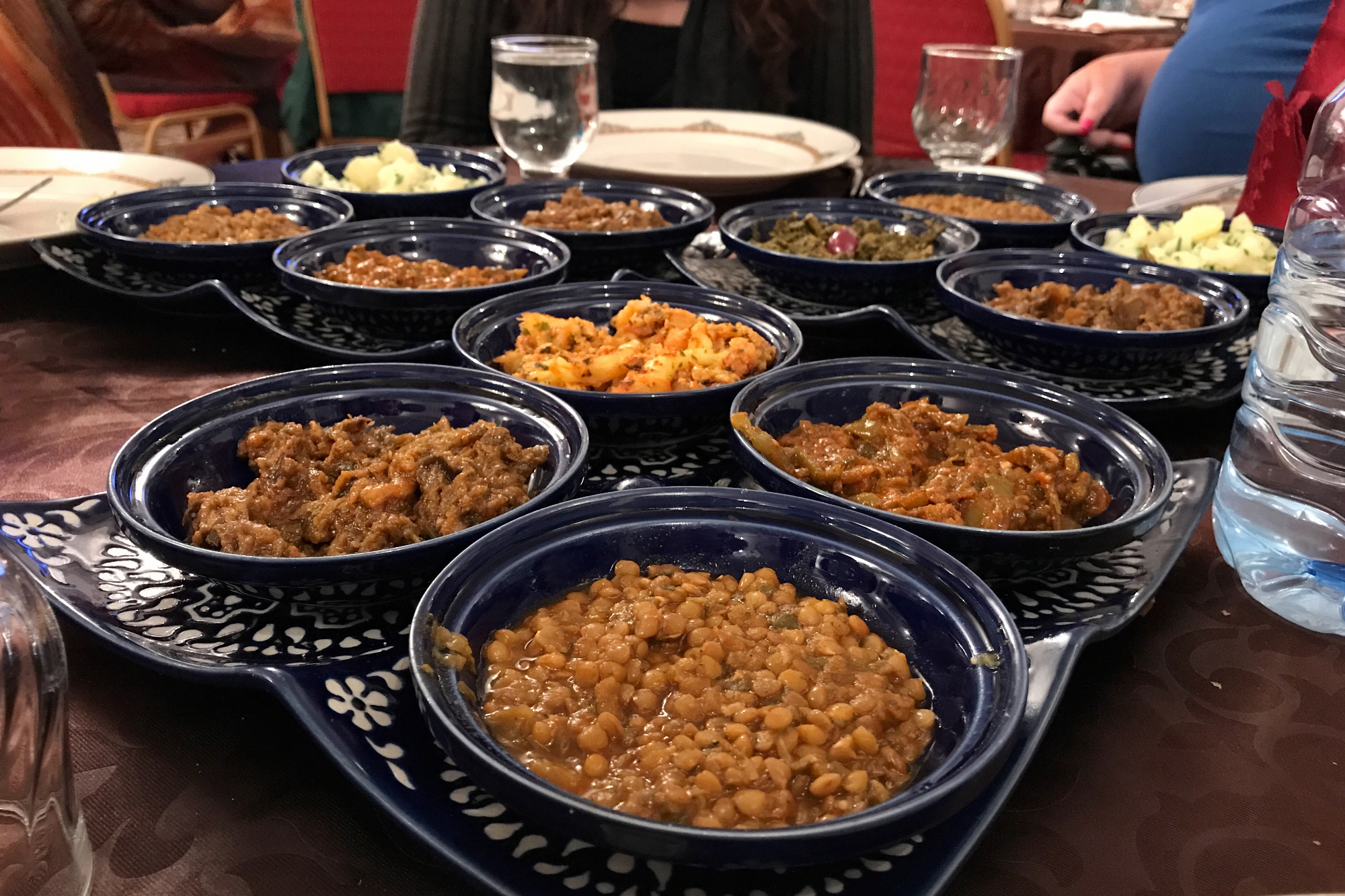 A spread of traditional Moroccan salad dishes