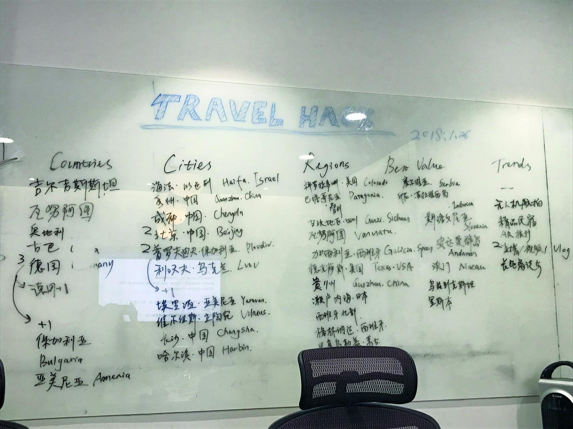 A Best in Travel ideas board in Běijīng © Lonely Planet