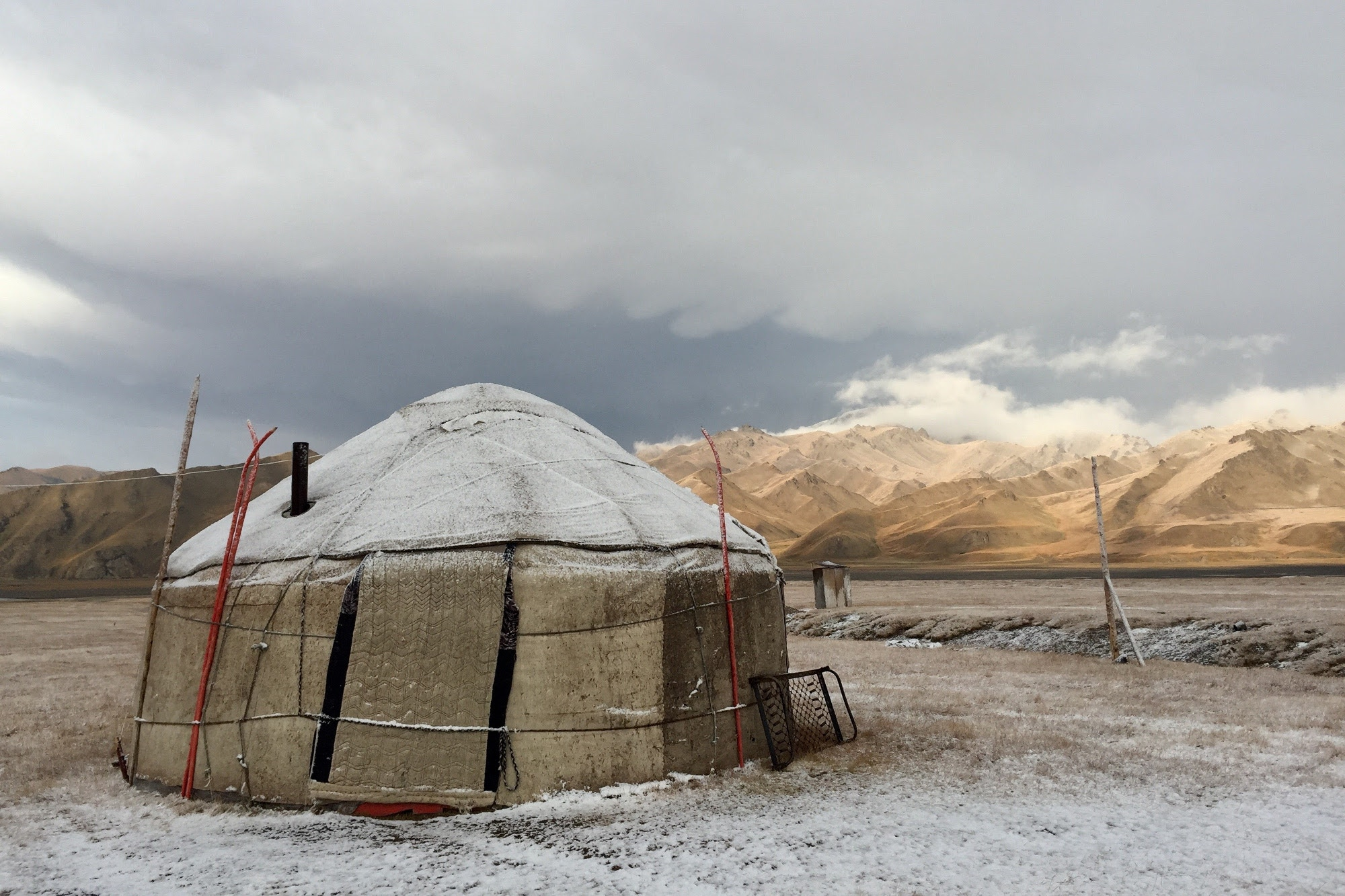 A yurt tent in the middle of the Kyrgyz wilderness