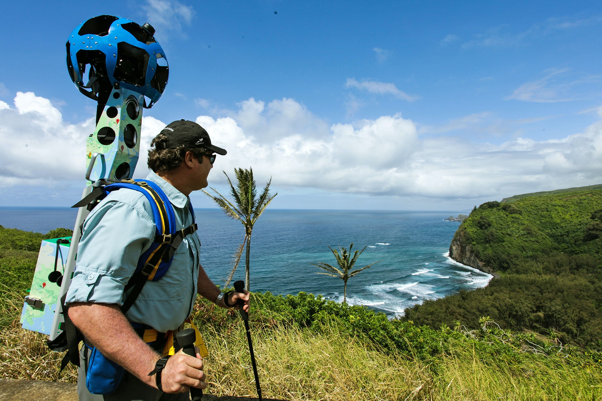 A man carrying a Google Trekker camera, one of the sources of Street View © Google