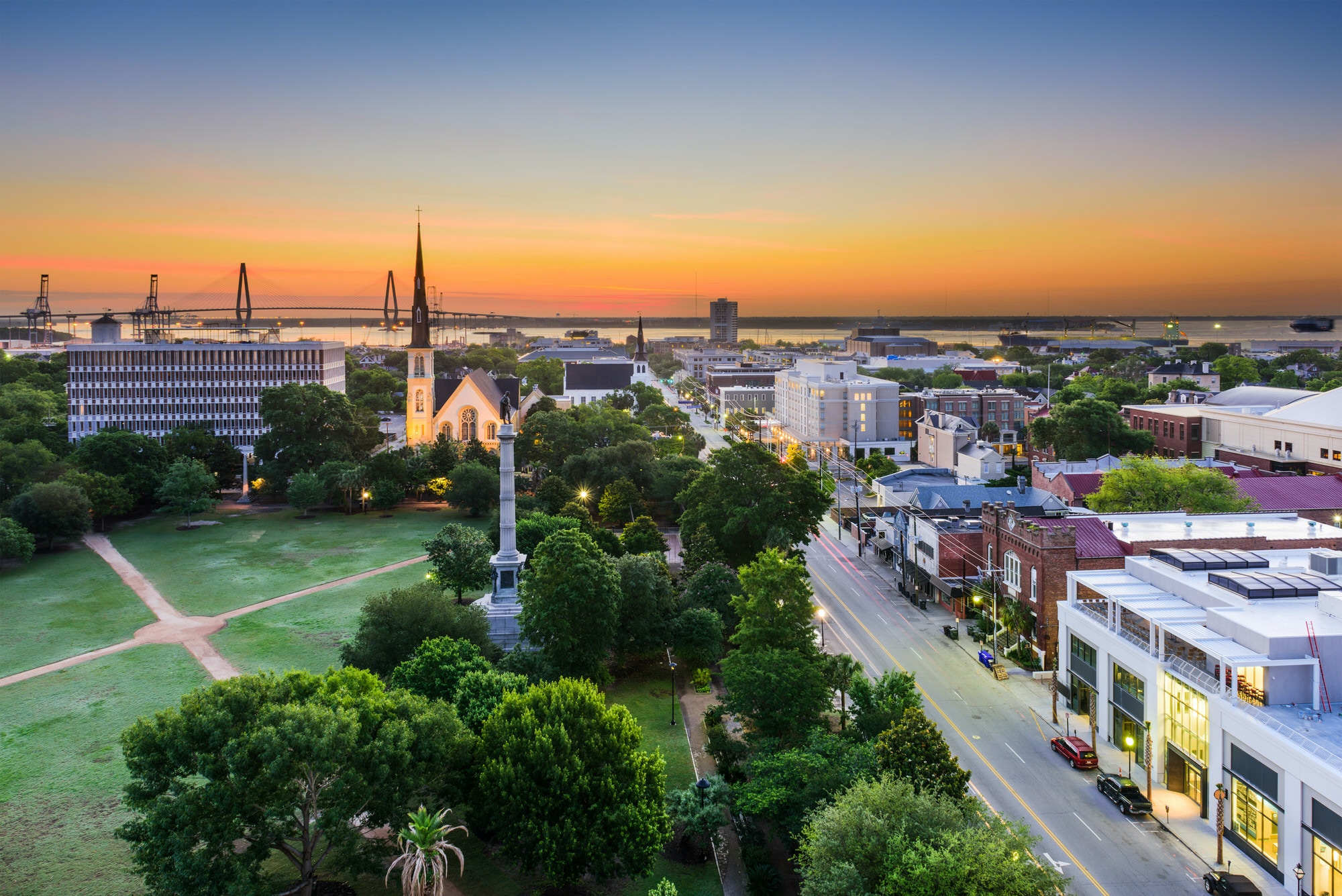 The skyline over Marion Square, Charleston during sunset © Sean Pavone Photo / Getty Images