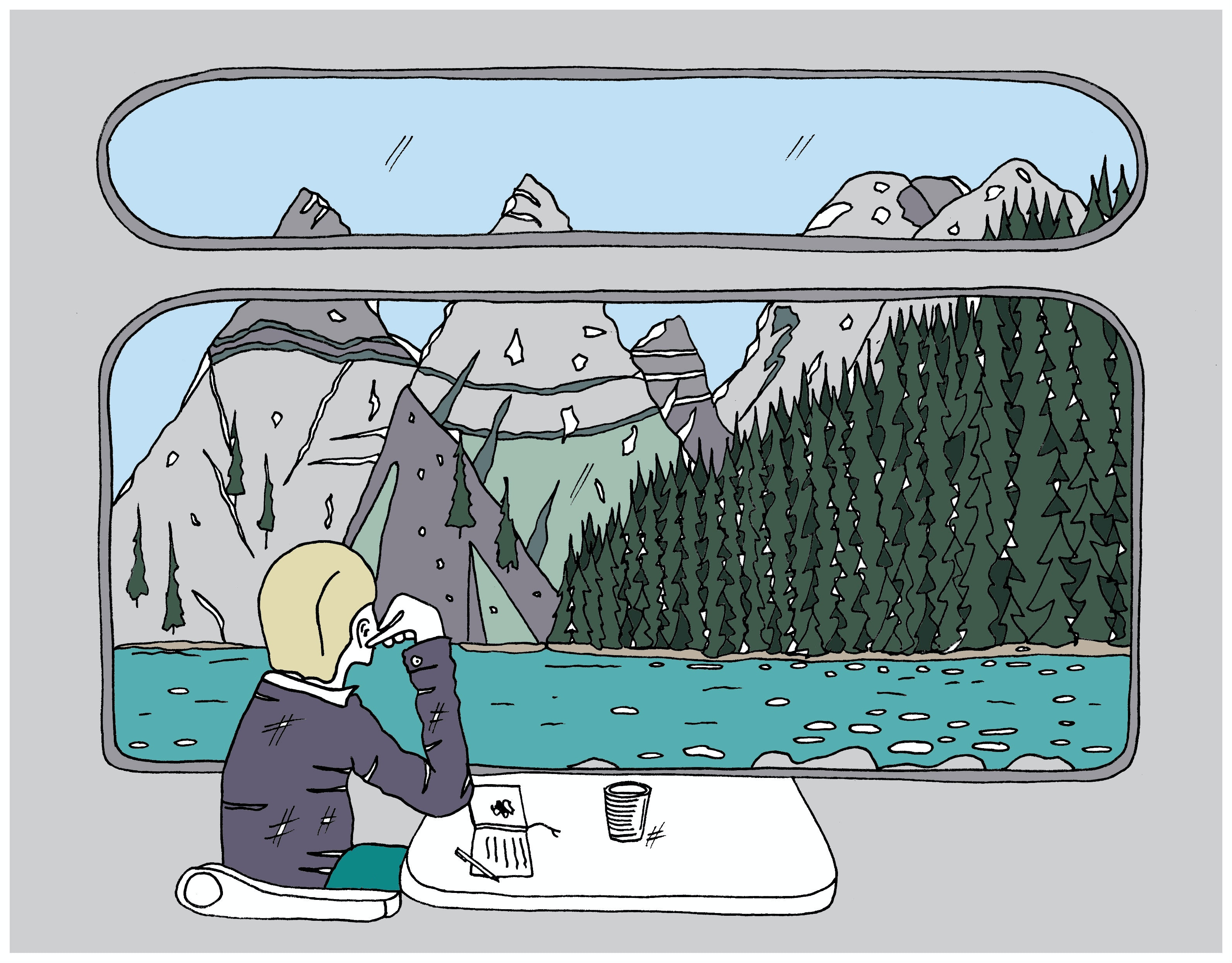 Illustration of a traveller looking out of a train window at a lake with mountains and forest in the background