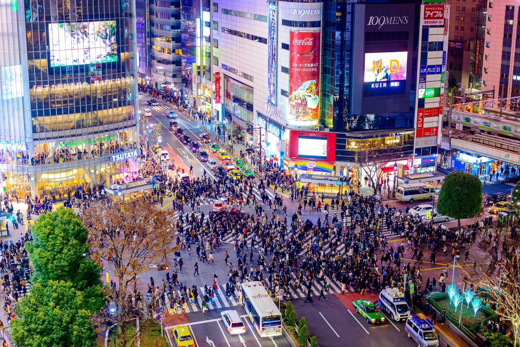 Aerial of pedestrians at Shibuya Crossing, Tokyo © Sean Pavone / Shutterstock