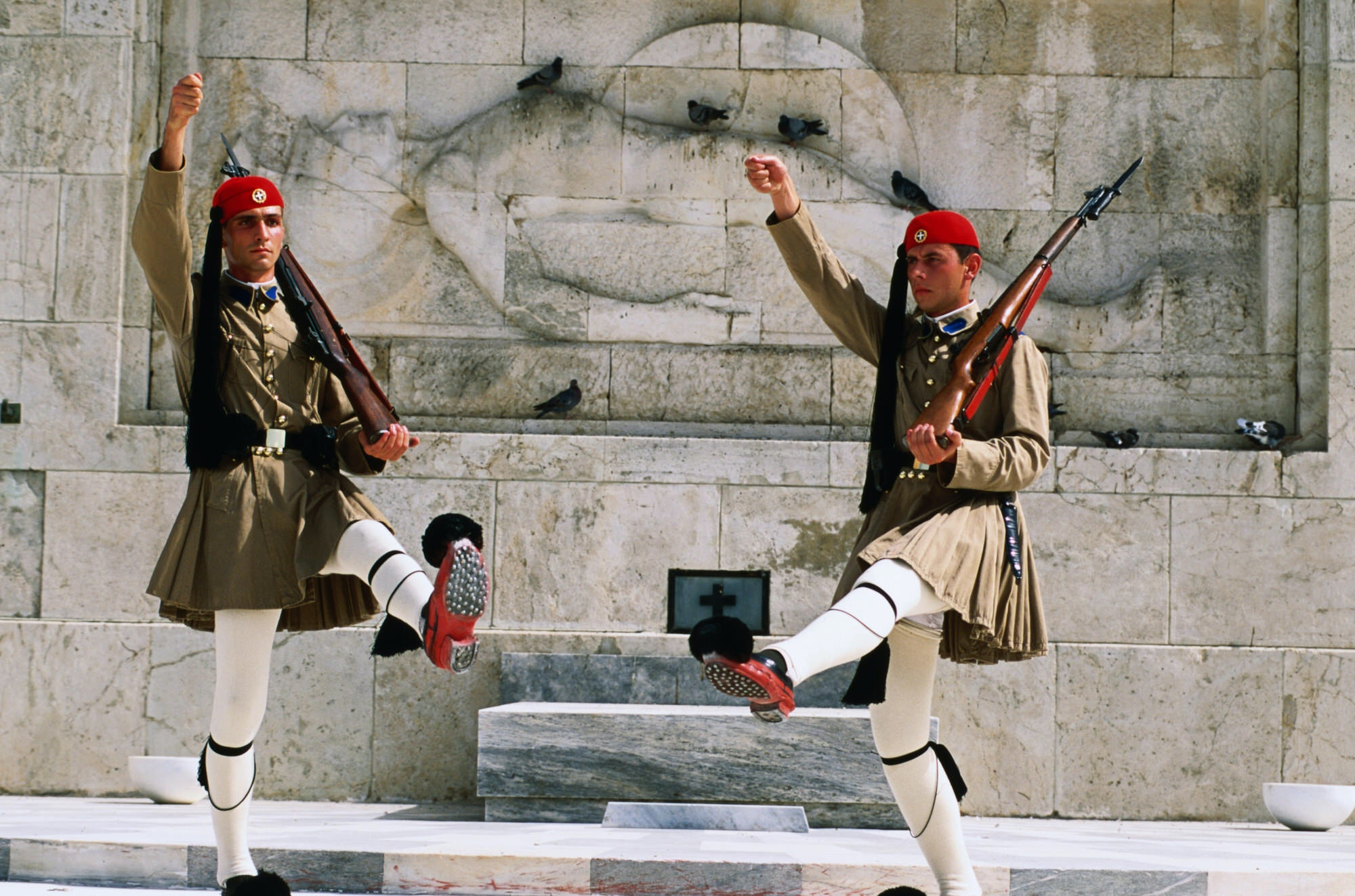Evzones, Royal Guards, performing changing of the guard in front of the Parliament Building in Athens