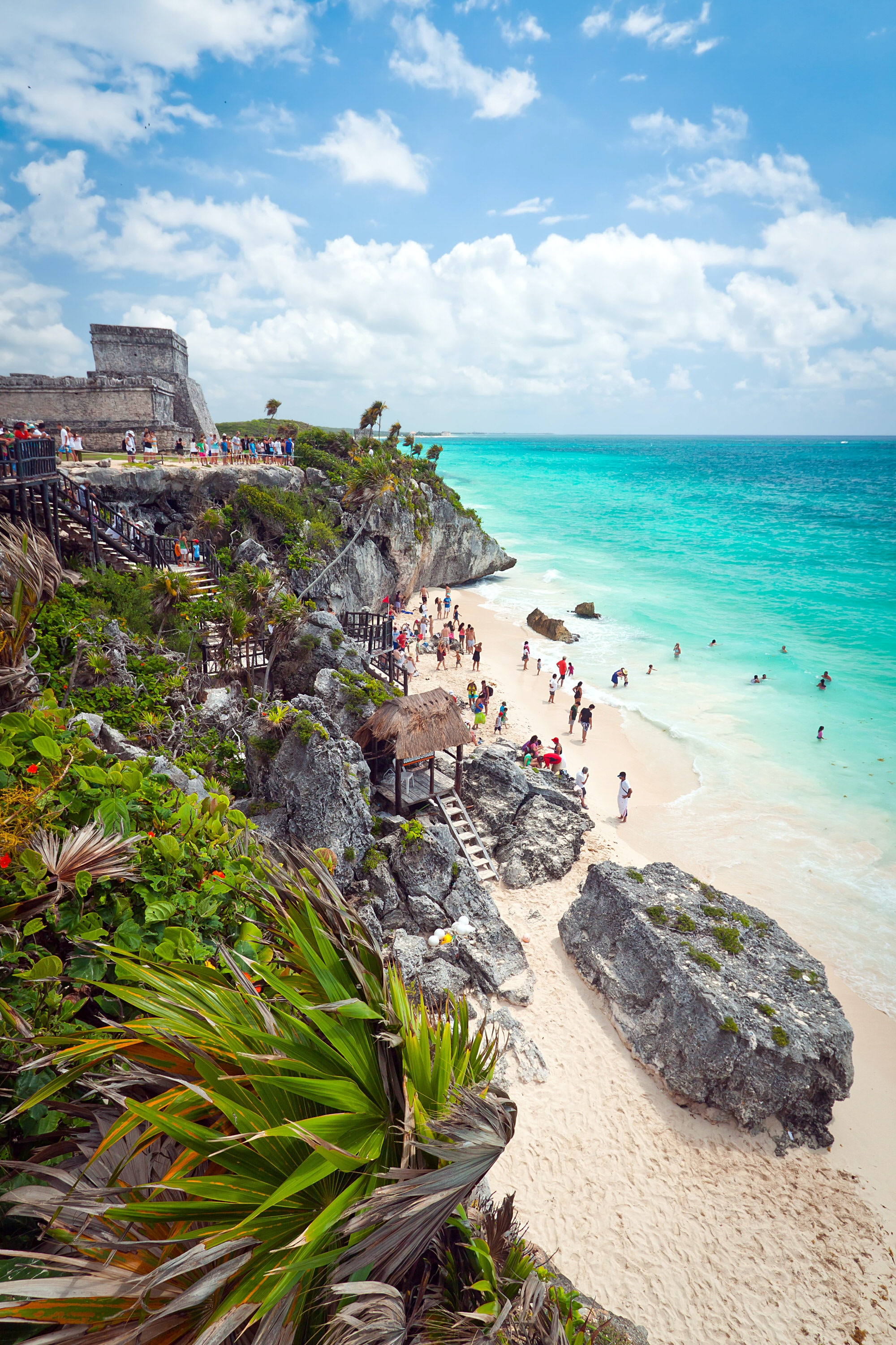 Ancient Mayan ruins on the beach of Tulum, Mexico