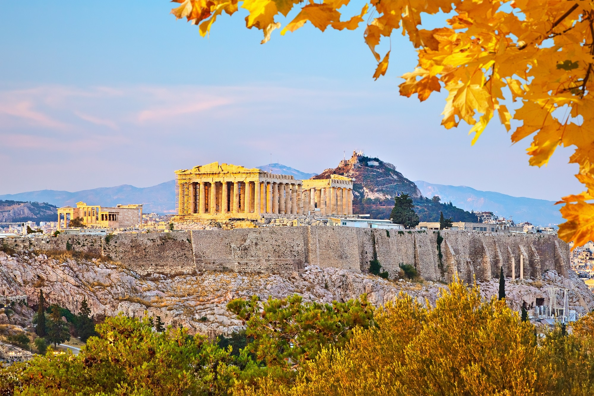 View of the Acropolis at sunset in Athens, Greece