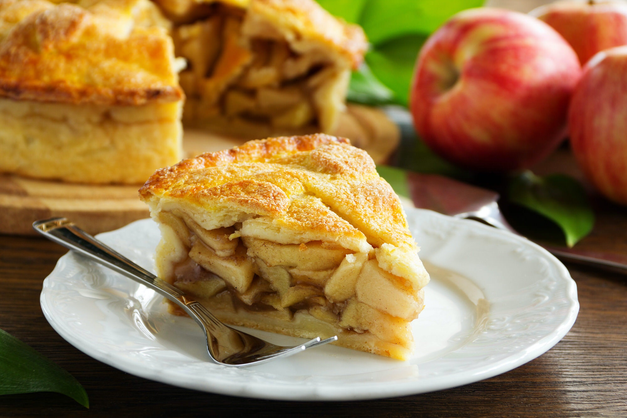 A thick slice of American apple pie