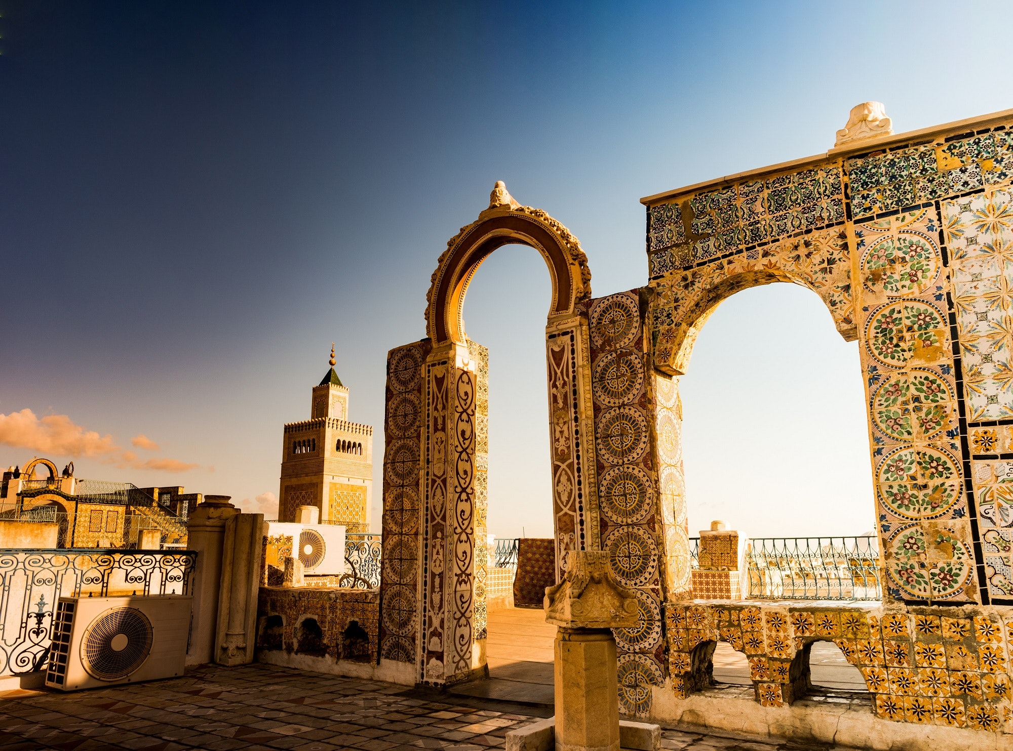 A medina rooftop view of the Zitouna Mosque in Tunis, Tunisia