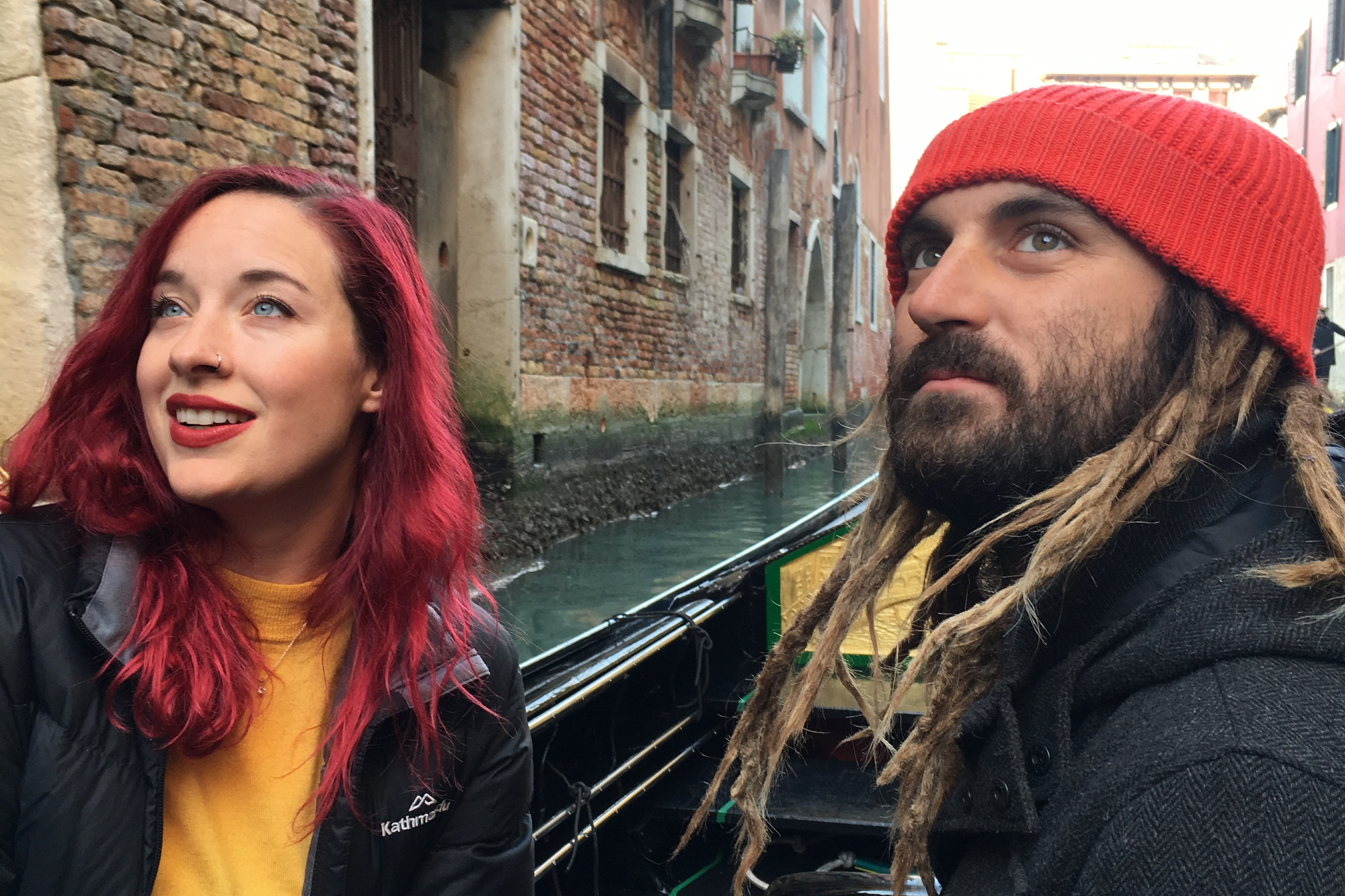 Kelsey and Peter enjoying a gondola ride through Venice's canals