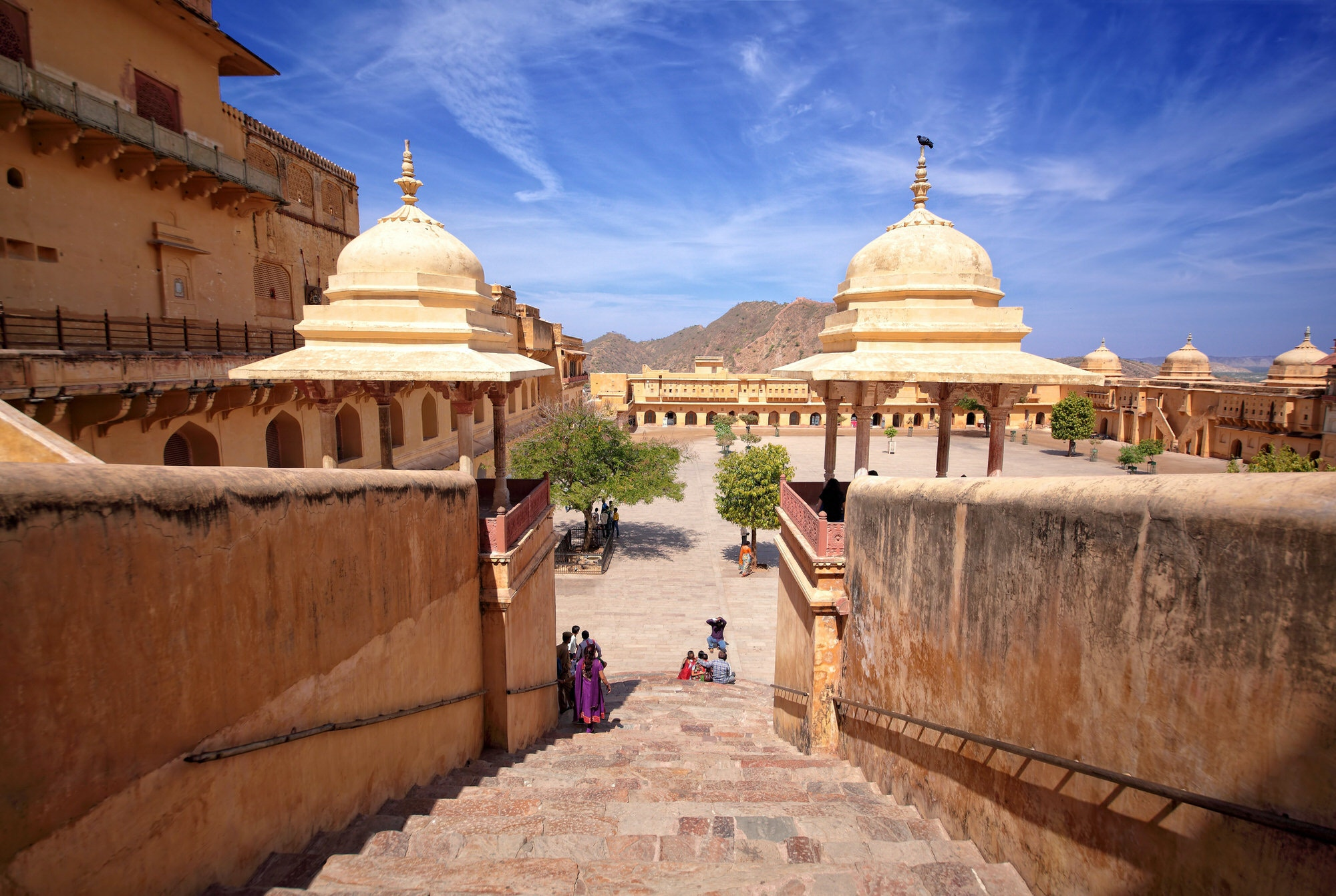 Amber Fort, Jaipur, India, under a blue sky